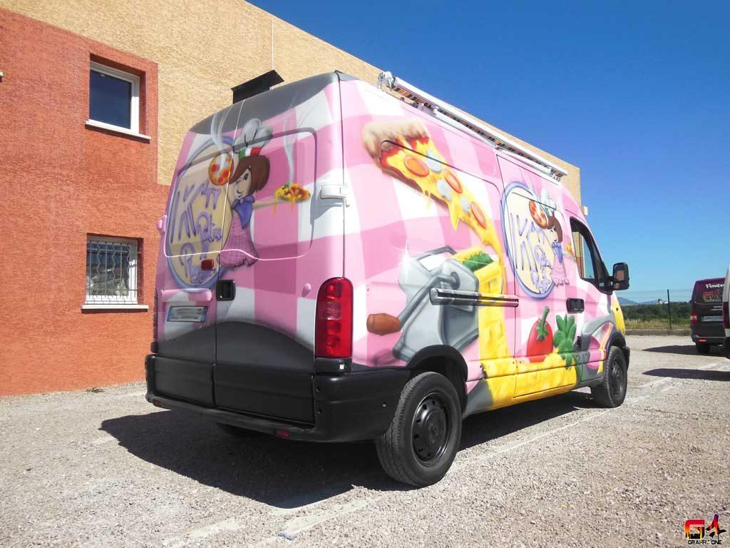 Publicité d'entreprise sur un camion de pizzas Nice (06)
