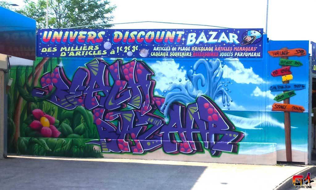 Fresque du Beach Bazzar à Vias-plage (34)