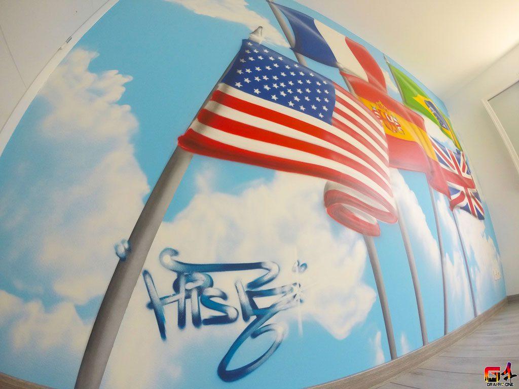 Décoration d'une chambre d'ado sur le thème des drapeaux à Frontignan (34)