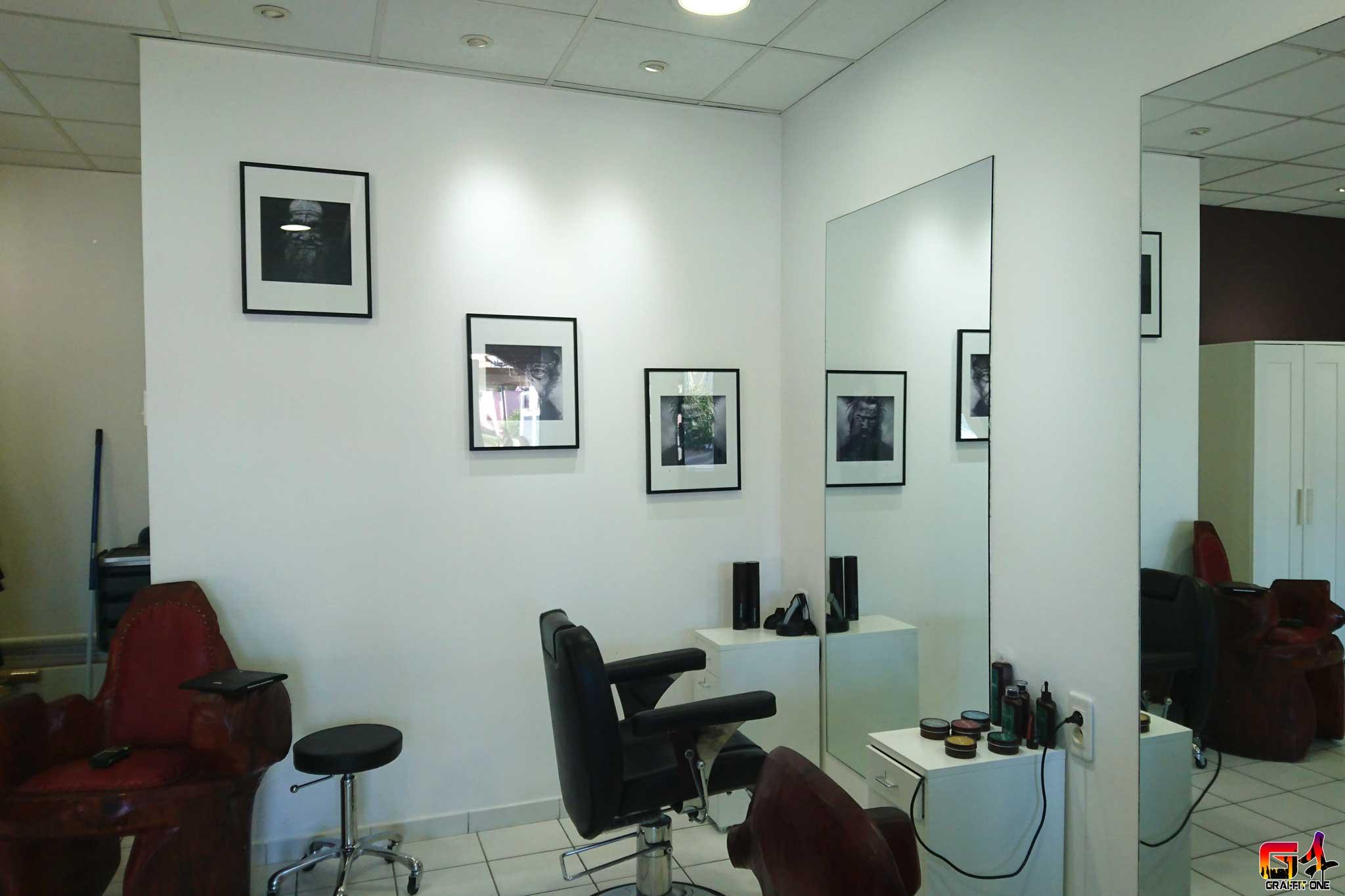 Graffiti salon de coiffure lattes art s r nissime barber for Salon art contemporain montpellier