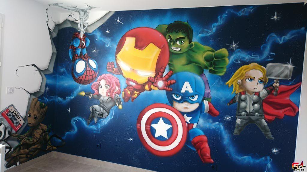 Graffiti chambre enfants graffiti avengers graffit one - Captain america fille ...