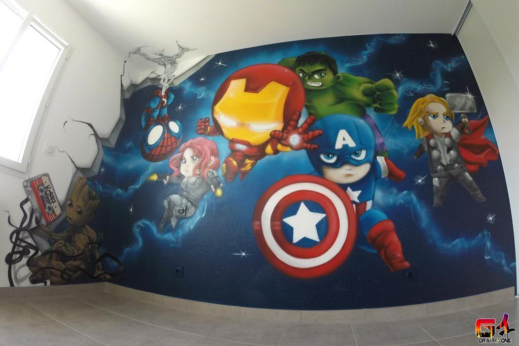 graffiti chambre enfant baby avengers