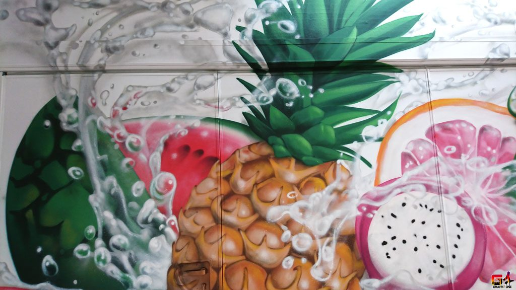 fresque murale fruits